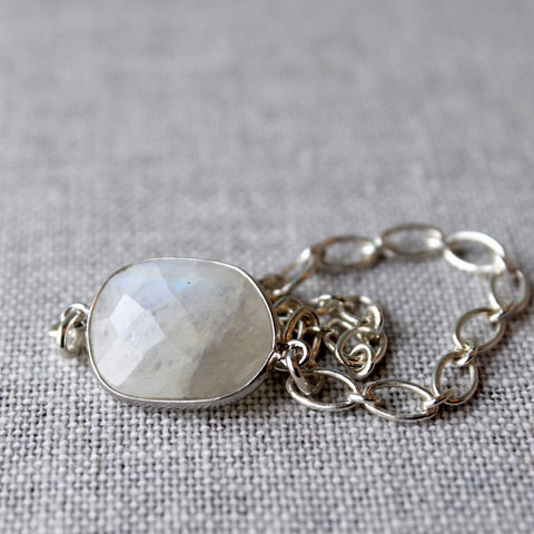 Moonstone Gem Bracelet with Sterling Silver