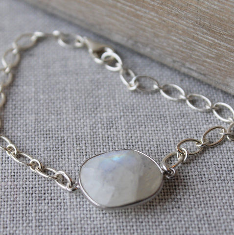 Designer Bracelet Moonstone Gemstone and Silver