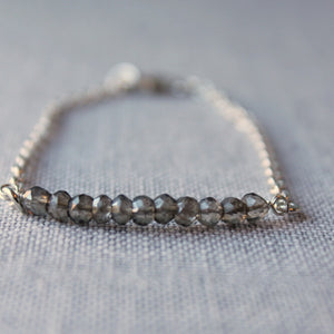 Grey Crystal Sterling Silver Bracelet
