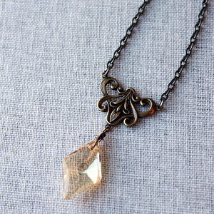 Golden Crystal and Brass Necklace