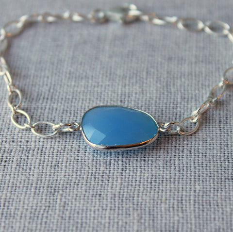 Blue Gemstone Bracelet Handmade in Canada