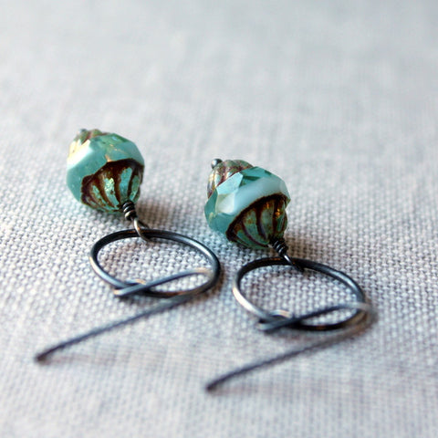 Oxidized Sterling Silver and Aqua Earrings