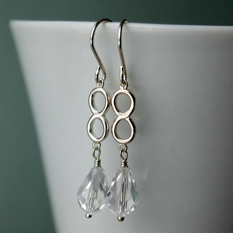 Infinity Crystal Sterling Silver Earrings