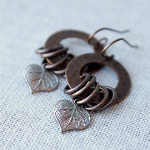 Brass and Pewter Leaf Earrings for Nature Lover