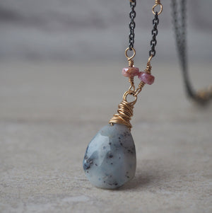 Grey Gemstone Mixed metal necklace by Wallis Designs