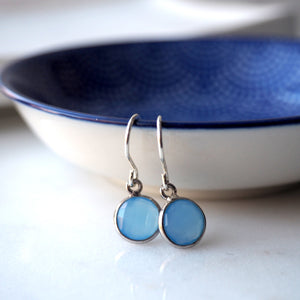 Blue Chalcedony Moondrop Earrings by Wallis Designs in Canada