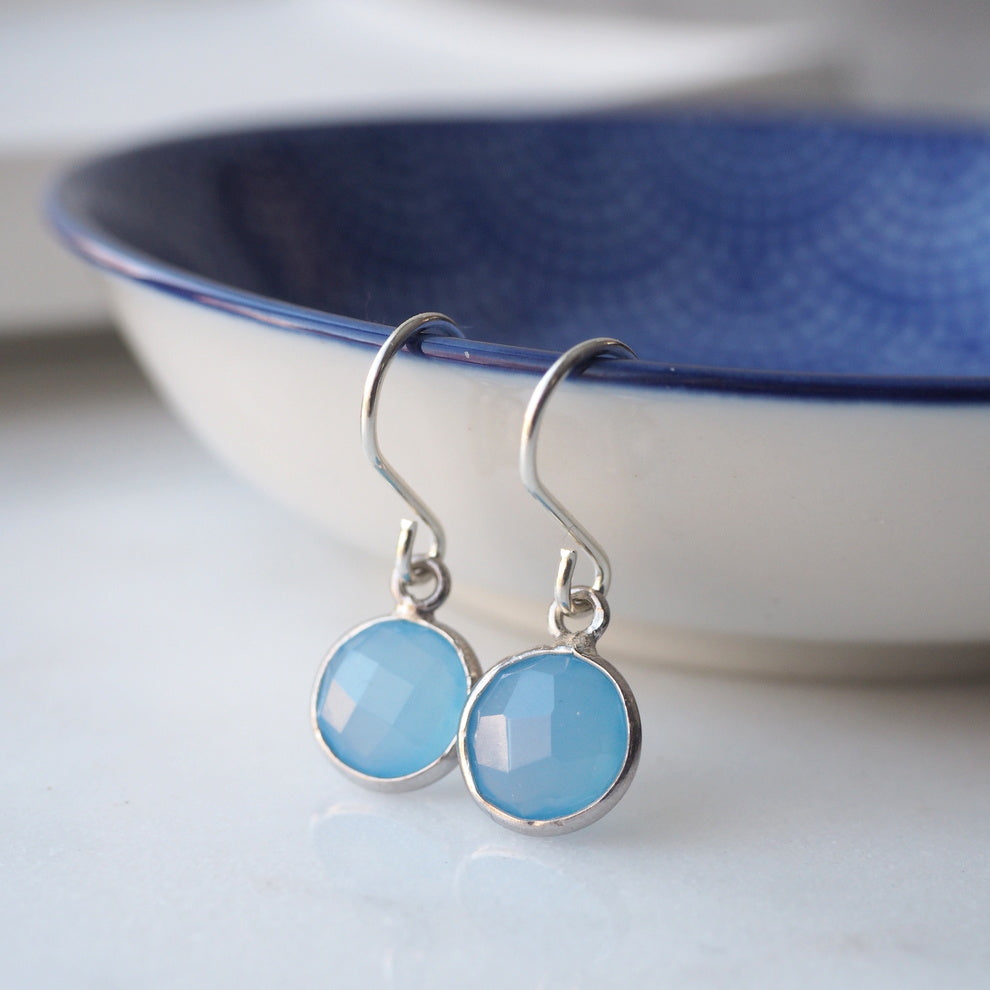 Blue Chalcedony Moondrop Earrings by Wallis Designs