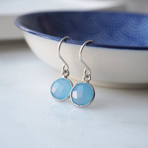 Blue Chalcedony Sterling Silver Earrings by Wallis Designs