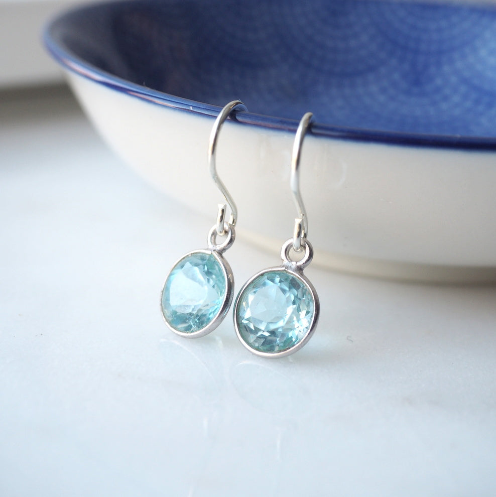 Blue Topaz Sterling Silver Earrings by Nancy Wallis Designs