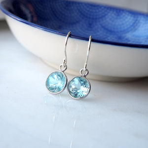 Dainty blue topaz gemstone earrings made in Canada