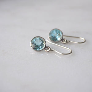 Dainty Sterling Silver earrings by Blue Topaz by Wallis Designs