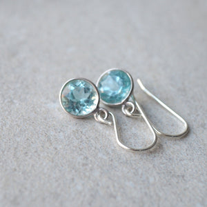 Dainty blue topaz sterling silver earrings by Wallis Designs