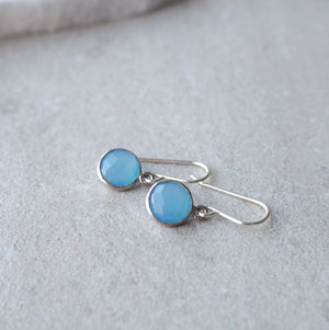Dainty Blue Gemstone Earrings in Chalcedony Wallis Designs