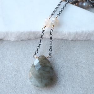 Labradorite Gemstone Necklace with Oxidized Sterling Silver