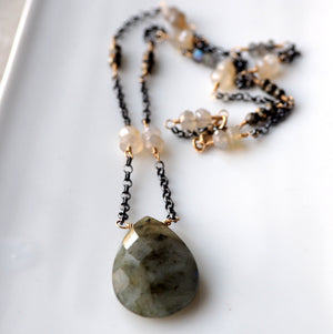 Labradorite Chalcedony Pyrite Gemstone Necklace