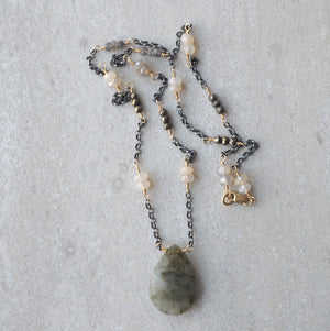 Mixed Metal gemstone necklace oxidized silver and 14K gold filled