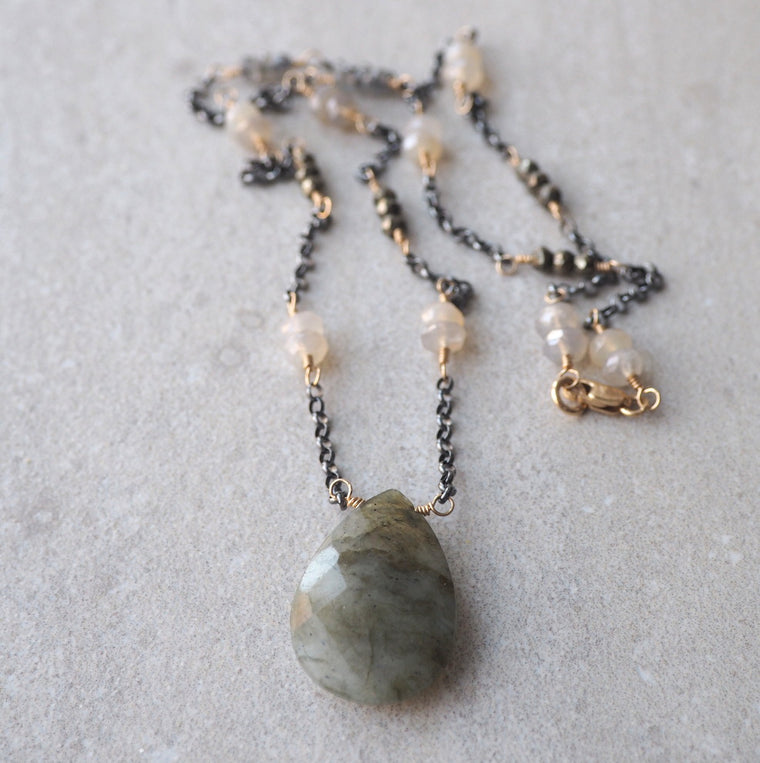 Labradorite Gemstone Necklace by Nancy Wallis Designs