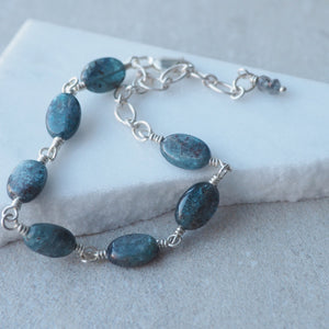 Kyanite Gemstone Silver Bracelet by Nancy Wallis Designs