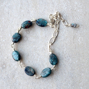 Deep Blue Gemstone Bracelet adjustable length Wallis Designs
