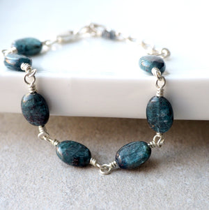 Blue Gemstone Bracelet with Kyanite and Sterling Silver