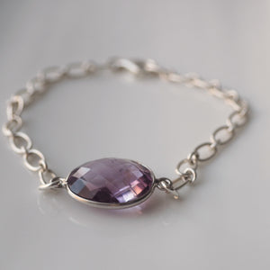 Minimalist Amethyst Bracelet in Silver by Nancy Wallis Designs