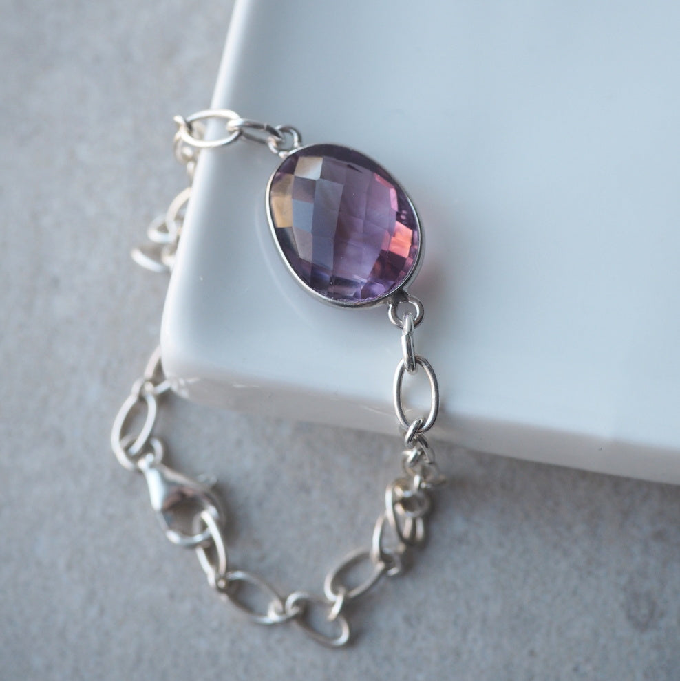 Amethyst Sterling Silver Bracelet by Nancy Wallis Designs