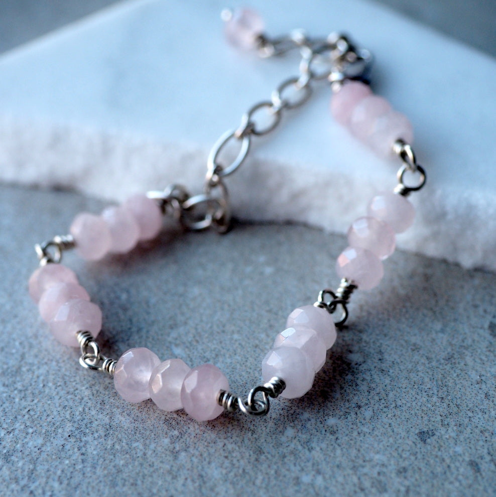 Rose Quartz Bracelet sterling silver bracelet by Wallis Designs