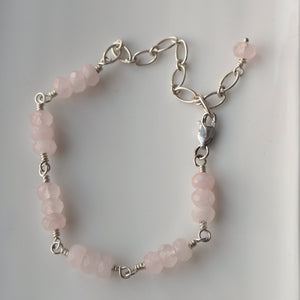 Rose Quartz Sterling Silver Gemstone Bracelet by Wallis Designs