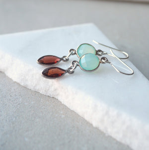 Gemstone Earrings in aqua chalcedony and garnet