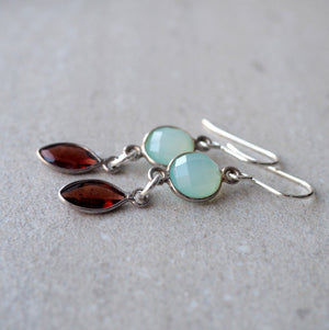 Aqua green and red gemstone earrings by Wallis Designs