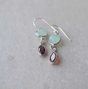 Garnet and Chalcedony Earrings by Nancy Wallis Designs