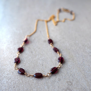 Delicate garnet gemstone necklace with 14K gold filled chain