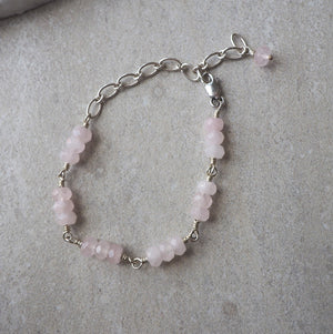 Sterling Silver Rose Quartz Bracelet with Adjustable Closure