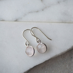 Rose Quartz Drop Earrings made in Canada by Wallis Designs