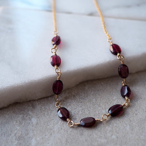 Garnet gemstone necklace and 14K gold filled