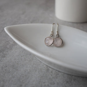 Rose Quartz Moondrop Earrings
