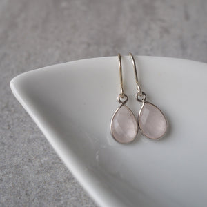 Rose Quartz Sterling Silver Earrings by Wallis Designs