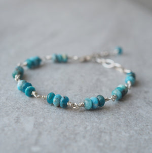 Gemstone Bracelet with Apatite and Sterling Silver