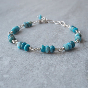 Blue Apatite Gemstone Bracelet by Wallis Designs