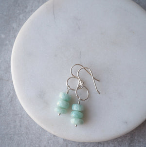 Sterling Silver Earrings with Amazonite Gemstones