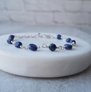 Gemstone Bracelet with Deep Blue Lapis Lazuli