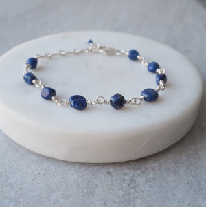 Navy Blue Lapis Lazuli Gemstone Bracelet by Wallis Designs