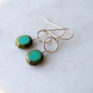 Czech Glass Bead in Turquoise Green and sterling silver