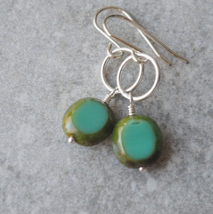 Sterling Silver Earrings with Turquoise Green Glass Beads