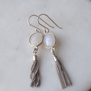 Silver Tassel Earrings with Moonstone by Wallis Designs