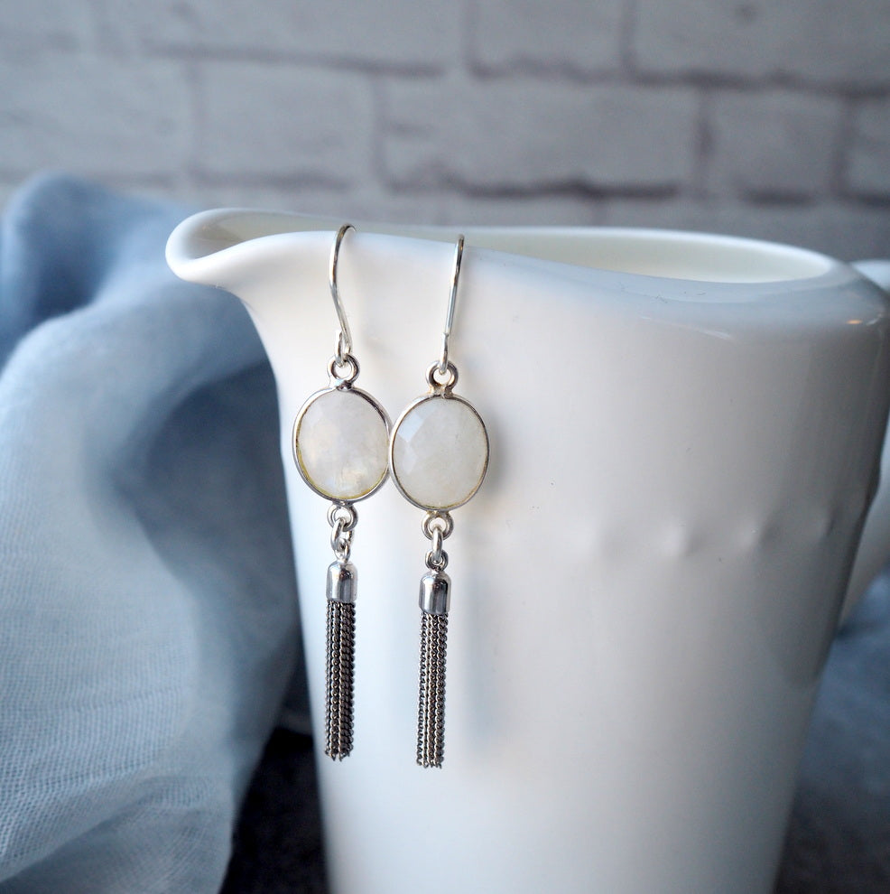 Moonstone and Silver Tassel Earrings by Wallis Designs