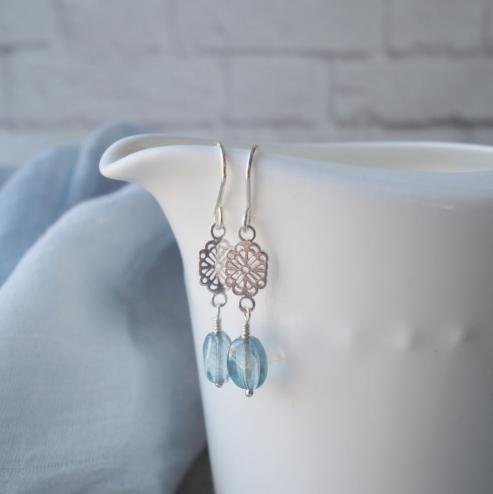 Sky Blue Glass Bead Earrings in Sterling Silver