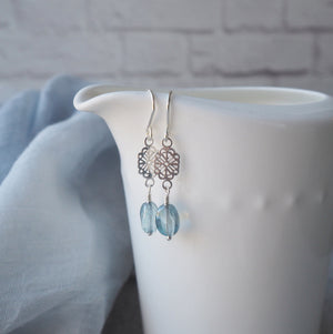 Blue Glass bead and sterling silver earrings made in Canada