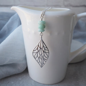 Silver Leaf Pendant Long Necklace with Amazonite