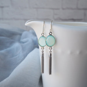 Elegant Tassel Earrings with Aqua Chalcedony Gemstones